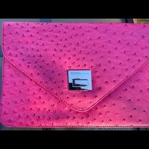 BCBG Hot Pink Ostrich Clutch Bag Perfect 4 Spring